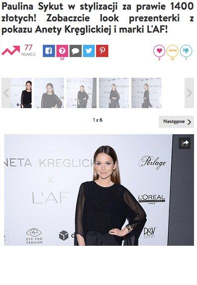 e934e7f1fc Paulina Sykut-Jeżyna w stylizacji z kolekcji Aneta Kręglicka x L AF  zwróciła uwagę Party.pl