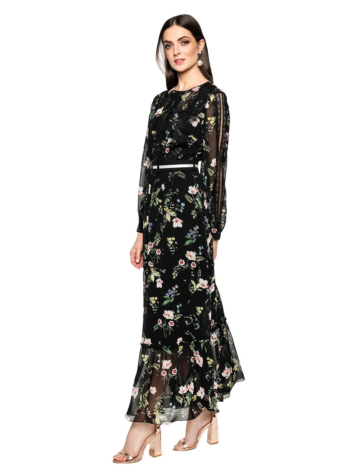 Sukienka wieczorowa Demeter czarna długa sukienka damska z